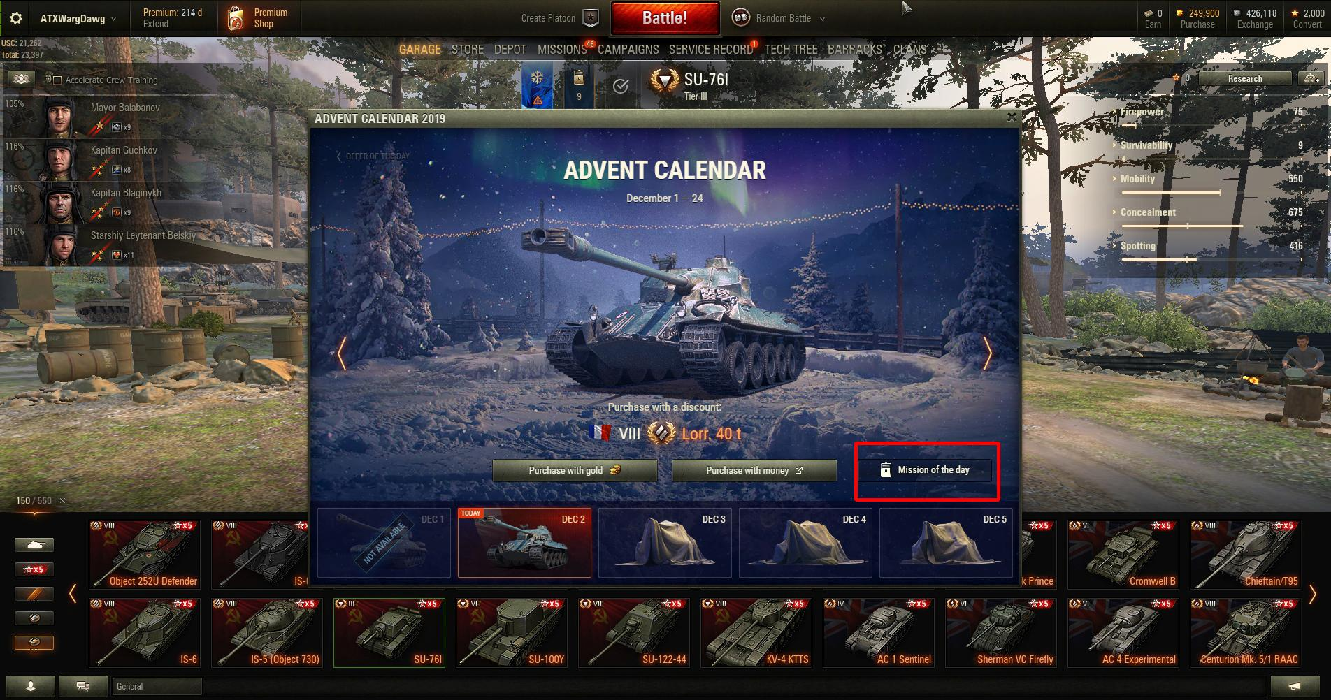 UPDATE: Advent Calendar 2019 | Announcements | World of Tanks